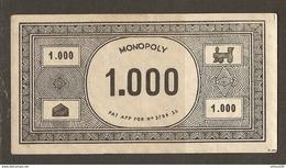 LOT DE 58 BILLETS DE 1000 FRANCS DU JEU DE SOCIÉTÉ MONOPOLY VERSION FRANCE REF. PATENT APPLIED FOR N° 3796/36 - 3 Scans - Jeux De Société