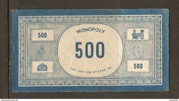 LOT DE 45 BILLETS DE 500 FRANCS DU JEU DE SOCIÉTÉ MONOPOLY VERSION FRANCE REF. PATENT APPLIED FOR N° 3796/36 - 3 Scans - Jeux De Société