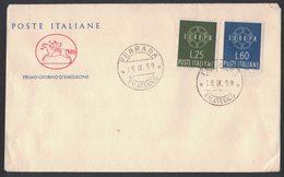 E46 ITALIA - FDC CAVALLINO 1959 - EUROPA - ANNULLO FILATELICO - F.D.C.