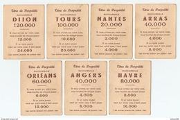 LOT DE 7 CARTES TITRE DE PROPRIÉTÉ - JEU DE SOCIÉTÉ - ARRAS - NANTES - LE HAVRE - ANGERS - TOURS - DIJON - ORLÉANS - Jeux De Société
