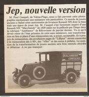 Coupure De Presse - TOY JOUET ANCIEN - MINIATURE JEP CAMIONNETTE LIVRAISON RENAULT NN - BOULANGERIE CONFISERIE - Jouets Anciens