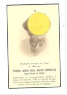 Faire-part De Décès De Mde Gervaise BOURGEOIS ép. De E. De Laever - LIEGE 1934 (b244) - Décès