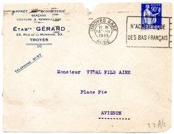 AUBE - Dépt N° 10 = TROYES GARE 1939 = FLAMME FLIER 'N'achetez Que Des Bas Français' + BONNETERIE GERARD - Marcophilie (Lettres)