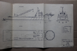 Plan Barge Autopropulsée, Serra Frères Entreprises Maritimes, à Toulon (Var), 1976 - Planches & Plans Techniques