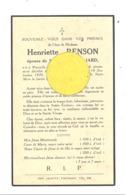 Faire-part De Décès De Mde Henriette RENSON ép. De E. Gilliard - PONCELLE-TINTIGNY 1884 / RAWEZ St VINCENT 1939 (b244) - Décès