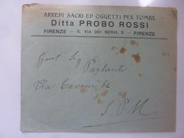 """Busta  Pubblicitaria Per Posta """"ARREDI SACRI Ditta PROBO ROSSI FIRENZE"""" Anni '30 - 6. 1946-.. Repubblica"""