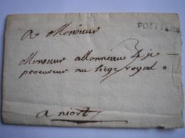 LAC Avec Marque De POITIERS Le 23/06/1738 Pour Niort Et Taxe Manuscrite 3 Décimes - RARE (3photos) - 1701-1800: Précurseurs XVIII