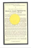 Faire=part De Décès De Mde Hubertine LESUISSE ép De J. Rennotte - LIEGE 1853 /1931 (b244) - Décès