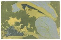 Cp En F.M. Avec Collage Ajouté Devant : Femme Au Raisins - Illustrateurs & Photographes