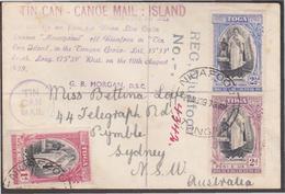 Toga Tonga 1939 Original Tin Can Mail Canoe Delivery Post Niuafoou Island Postal History Document Classics - Timbres