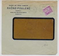 1935 - PAIX PERFORE (PERFIN) RHONE-POULENC Sur ENVELOPPE COMMERCIALE De PARIS - Marcophilie (Lettres)