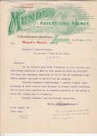 Royaume Uni Facture Lettre Illustrée 22/3/1909 MUNDUS Advertising Agency London - Royaume-Uni