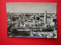 CPSM PHOTO GLACEE  LIBYE TRIPOLI OLD TOWN PANORAMA     VOYAGEE 1954 - Libya
