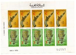 Planche De 10 Timbres Maroc. 5 Paires Tête-bêche De  1974. N° 708A. Bijoux. Armes Ancienne. Surtaxe Et Surcharge - Maroc (1956-...)