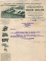 VP14.233 - Lettre - Locomobiles - Ateliers De Constructions Mécaniques - Etablissements V.  SAELEN à LOMME - LEZ - LILLE - 1900 – 1949