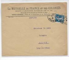 1921 - SEMEUSE PERFORE (PERFIN) MUTUELLE De FRANCE Et Des COLONIES Sur ENVELOPPE De LYON - France