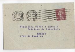 1926 - SEMEUSE PERFORE (PERFIN) CGE Sur CARTE De PARIS => AMBERT - France