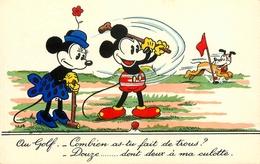 "Walt DISNEY - Mickey Mouse - "" Au Golf "" - Link Links - Editions E. Séphériades - Disney"
