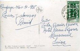 41428 Italia,circuled Card  1938 From Pompei To Switzerland (postmark Pompei Scavi = Pompeii Excavations) - Volcanos