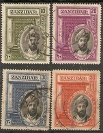 ZANZIBAR 1936 SILVER JUBILEE OF SULTAN SET SG 323/326 FINE USED Cat £10+ - Zanzibar (...-1963)