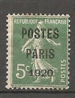 PREO Yv. N° 24   *  5c  POSTE PARIS 1920  Cote  400 Euro  BE  R 2 Scans - Préoblitérés