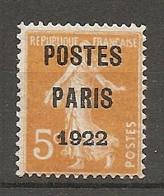 PREO Yv. N° 30  ** MNH 5c  POSTE PARIS 1922   Cote  350 Euro  TBE   2 Scans - Préoblitérés