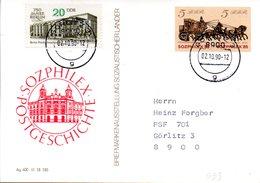 "DDR Amtl. GZS-Postkarte P93 ZF 5(Pf) Neben 5(Pf) Mfg ""SOZPHILEX'85"" TSt 2.10.1990 GÖRLITZ 3 - Postcards - Used"
