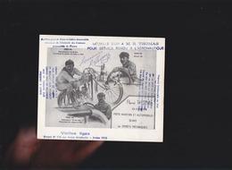 René Thomas - Moto 1er Circuit Dieppe Sur Peugeot- Aviation, Vieilles Tiges N°116 Sur Avion Antoinette 1910 - Champion - Visiting Cards