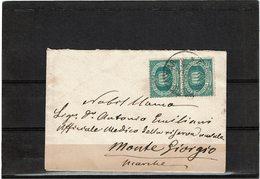 CTN55 - SAN MARINO PAIRE VERT. 10c 2ème EMISSION SUR ENVELOPPE FORMAT CARTE DE VISITE  28/6(?)/1896 - Lettres & Documents