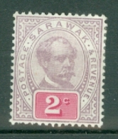 Sarawak: 1888/97   Charles Brooke (inscr. 'Postage Revenue')   SG9a     2c  Purple & Rosine    MH - Sarawak (...-1963)