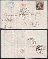 """FRANCE Yv30 SUR LETTRE DE CAMBRAI 01/06/1869 Vers BRUXELLES VERSO """" FRANCE EST IV """" (6G23940) DC-1532 - 1863-1870 Napoléon III. Laure"""