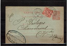 CTN55 - MONACO EP CP CIRCULEE AVEC COMPL.T 10/5/1920 - Entiers Postaux