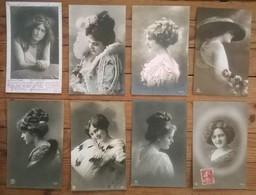 Lot De 8 Cartes Postales Anciennes / Portraits De Femmes /c - Femmes