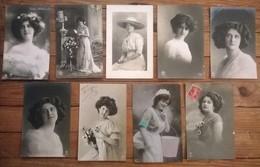 Lot De 9 Cartes Postales Anciennes / Portraits De Femmes - Femmes