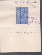 """Timbre Fiscal Sur Fragment  / QUITTANCE """"république D'Oudiné"""" 10C BLEU 1881 (PPP16777) - Fiscaux"""