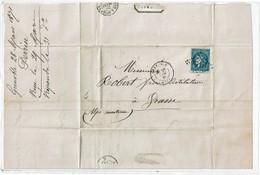 CTN55 - FRANCE CERES EM. BORDEAUX GRENOBLE / GRASSE 28/3/1871 - 1870 Emission De Bordeaux