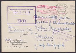 """ZKD-Brief Mit Rotem """"Aufbewahrungsstempel"""" Berlin Deutsches Pädagogisches Inst.itut, Zentraler Kurierdienst Der DDR - [6] Oost-Duitsland"""