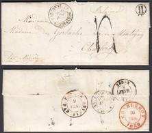 """FRANCE 1850 De MONTFAUCON D ARGONNE Vers CHARLEROI BELGIQUE BOITE H """"FRANCE PAR DINANT"""" (6G23940) DC-1539 - France"""