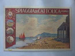 """Biglietto Per Auguri  Pubblicitario """"SPIAGGIA DI CATTOLICA  Vagnini E Zangheri LAVORAZIONE PIETRE DURE"""" 1995 - Old Paper"""