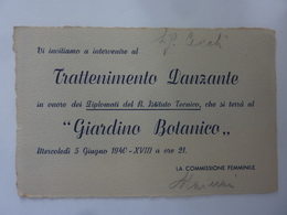 """Cartoncino Invito """"TRATTENIMENTO DANZANTE  Giardino Botanico, Napoli 5 Giugno 1940"""" - Autres"""