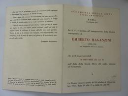 """Pieghevole Invito """"ACCADEMIA BELLE ARTI ROMA MOSTRA UMBERTO MAGANZINI"""" 1966 - Autres"""