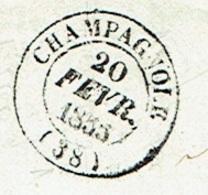 JURA 39 CHAMPAGNOLE LSC TAD 14 Du 20/02/1853 PC 713 Sur N° 14 TTB - Postmark Collection (Covers)