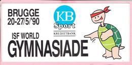 Sticker - BRUGGE 1990 ISF WORLD GYMNASIADE - KB Sport - Kredietbank - Autocollants