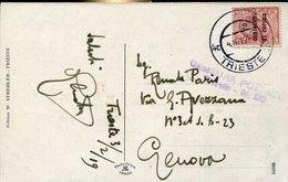 41430 Italia , Cart. Viaggiata 1919 Da Trieste A Genova Con Affrancatura 10 Cent. Di Corona - 8. Occupazione 1a Guerra