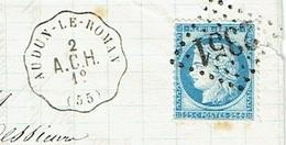 MOSELLE 57 AUDUN LE ROMAN LAC TAD Convoyeur Station Du 01/04/1875 GC 2351(MEZIERES) Sur N° 60  SUP - Marcofilia (sobres)