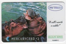 ROYAUME UNI Télécarte PAYTELCO 1PAYC013395 HIPPOPOTAME - Royaume-Uni