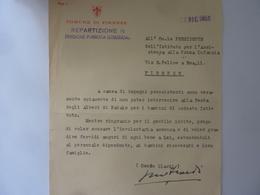 """Lettera Dattiloscritta """"COMUNE DI FIRENZE - FESTA DEGLI ALBERI DI NATALE"""" 1955 - Manoscritti"""