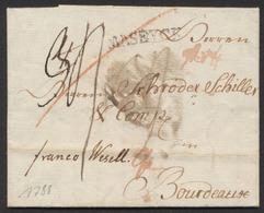Précurseur - LAC Datée Du 15/5/1788 + Obl Linéaire MASEYCK Et Franco Wesell Vers Bourdeaux. Plusieurs Taxe Biffés - 1790-1794 (Oostenrijkse Revolutie En Franse Inval)