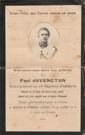 Généalogie : Faire-part Décés - Carte Mortuaire - JUVENETON Sous-lieutenat Du 23é Régt. D'infanterie : Oulchy Le Chateau - Décès
