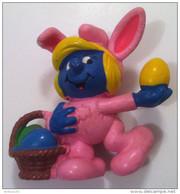 FIGURINE SCHTROUMPF SCHROUMPFETTE OEUF DE PÂQUES © PEYO 1982  SCHEICH - 2 Scans - - Figurines